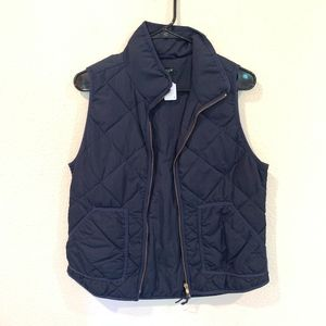 J. Crew navy plaid quilted vest